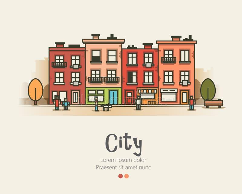Paisaje del diseño plano y vida de ciudad urbanos modernos Ilustración del vector libre illustration