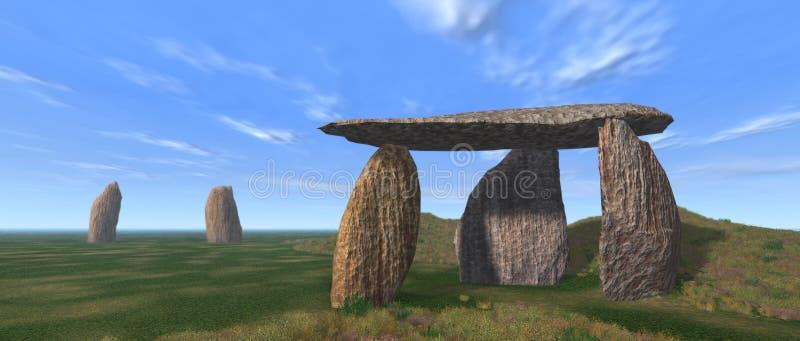 Paisaje del dolmen ilustración del vector