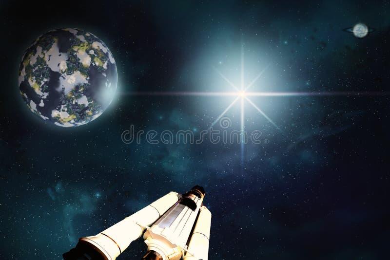 Paisaje del espacio Escena de la exploración espacial del hombre ilustración del vector