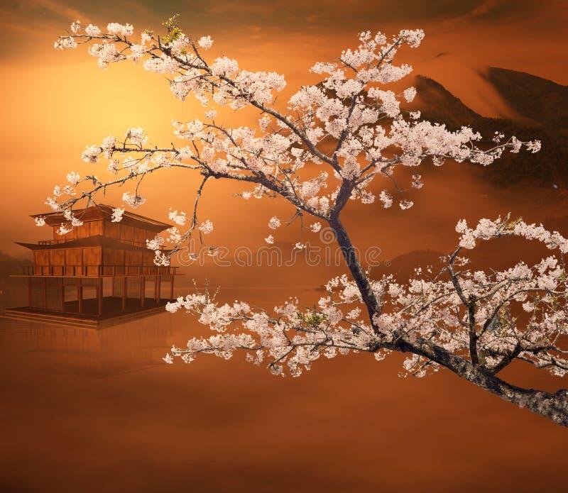 Paisaje del estilo de la pintura de China stock de ilustración