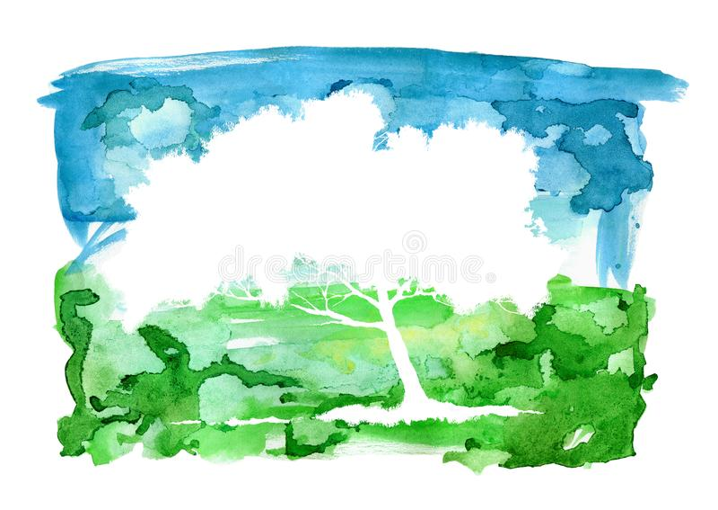 Paisaje del extracto de la acuarela y silueta del árbol Cielo y prado stock de ilustración
