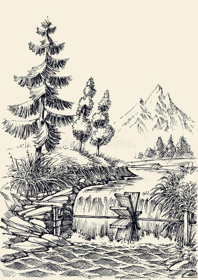 Paisaje del flujo del río de la montaña stock de ilustración