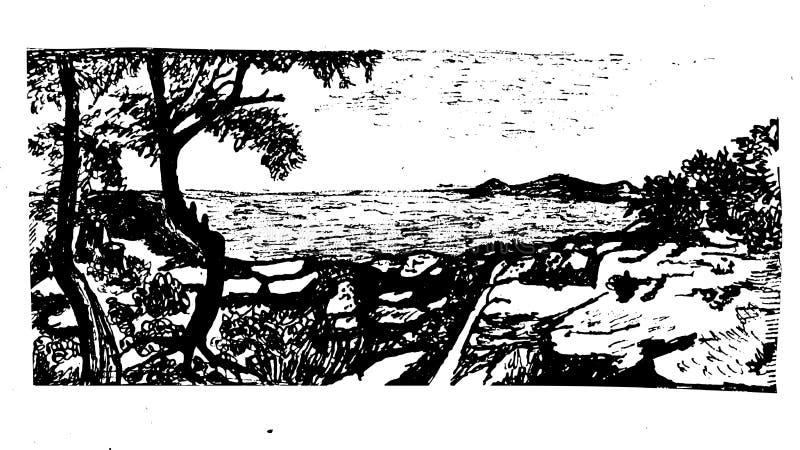 Paisaje del fondo con las hermosas vistas del mar y de la playa pedregosa en una isla en el ejemplo de Adalar Estambul stock de ilustración