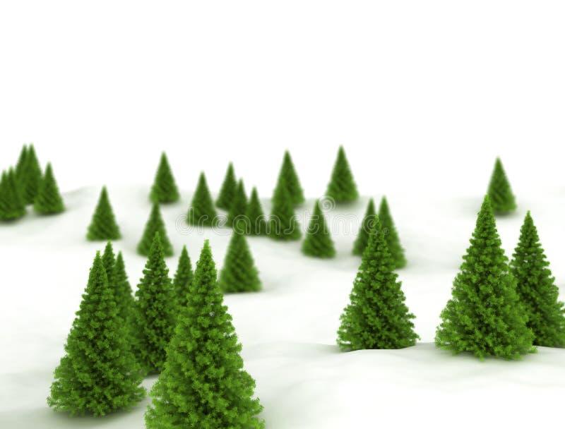 Paisaje del invierno Árboles y nieve verdes de pino ilustración del vector
