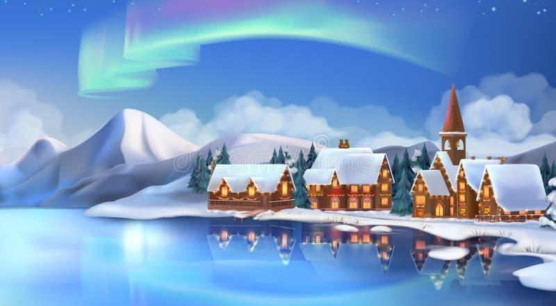 Paisaje del invierno Cabañas de la Navidad Decoraciones festivas de la Navidad Fondo del Año Nuevo Ilustración del vector ilustración del vector