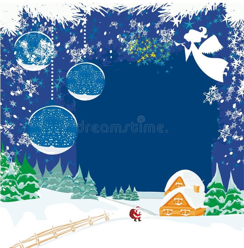 Paisaje del invierno con ángeles y Papá Noel libre illustration