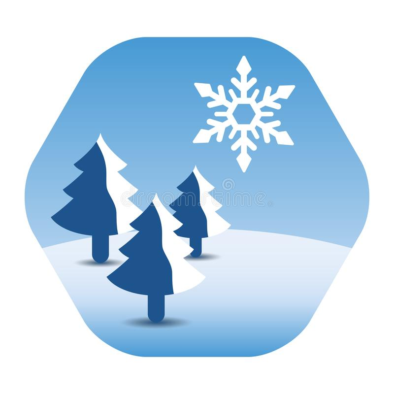 Paisaje del invierno con árboles de pino y un copo de nieve enorme ilustración del vector