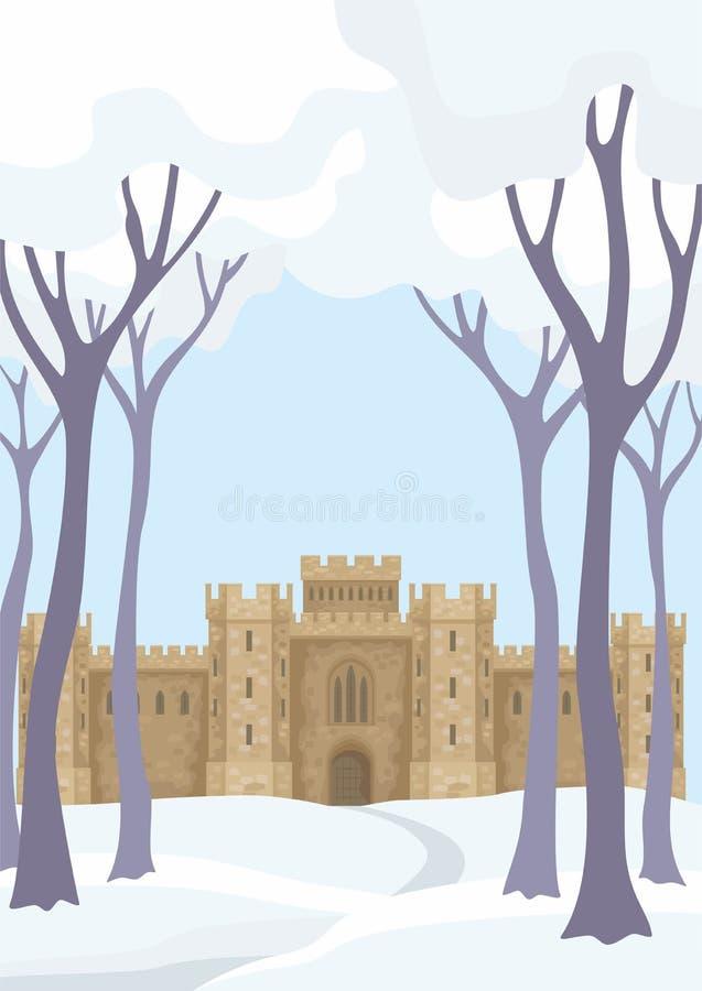 Paisaje del invierno con el castillo ilustración del vector