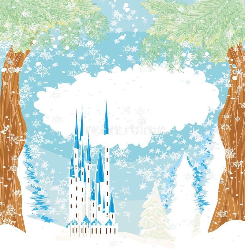Paisaje del invierno con el castillo libre illustration