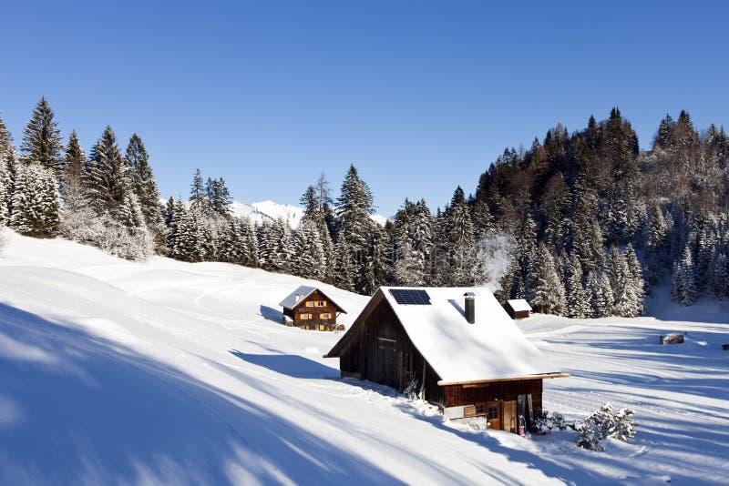 Paisaje del invierno con la cabina de registro imagen de archivo