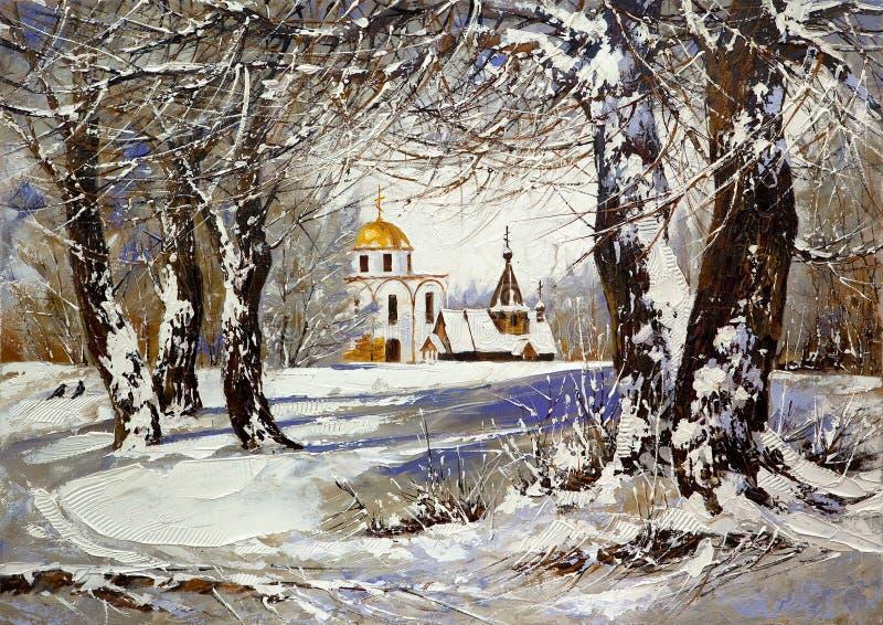 Paisaje del invierno con la iglesia stock de ilustración
