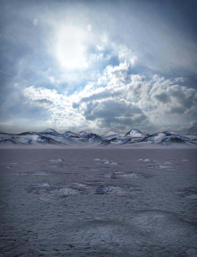 Paisaje del invierno con las nubes stock de ilustración