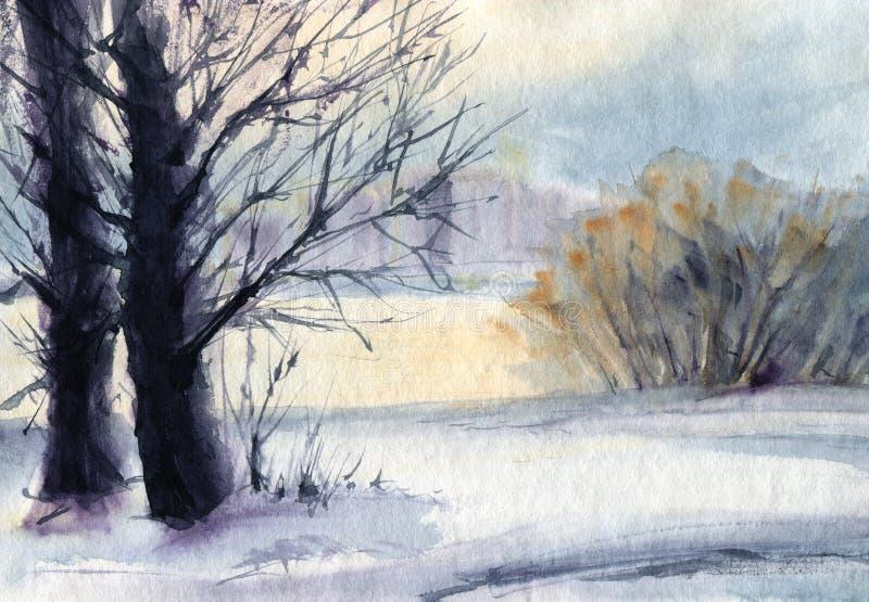 Paisaje del invierno con los árboles Bosquejo de la acuarela stock de ilustración