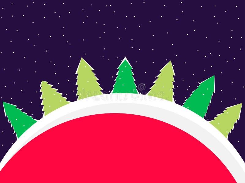 Paisaje del invierno con los abetos en estilo plano Nieve que cae Vector ilustración del vector