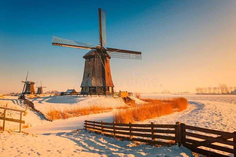 Paisaje del invierno con los molinoes de viento en Schermerhorn Países Bajos foto de archivo libre de regalías