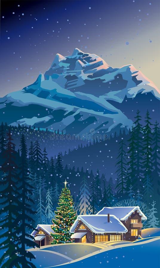 Paisaje del invierno con un árbol de navidad ilustración del vector