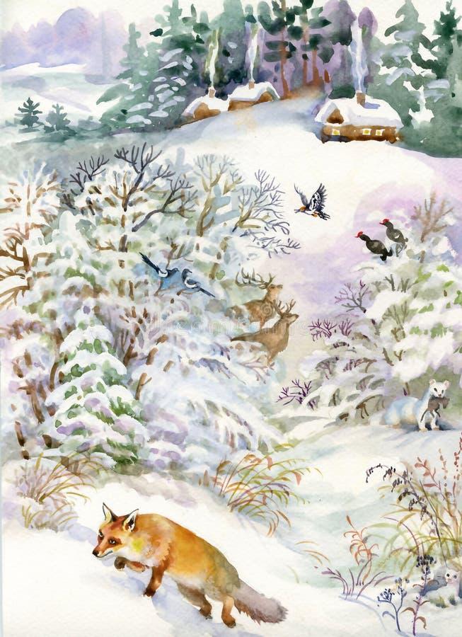 Paisaje del invierno con una casa y un zorro ilustración del vector
