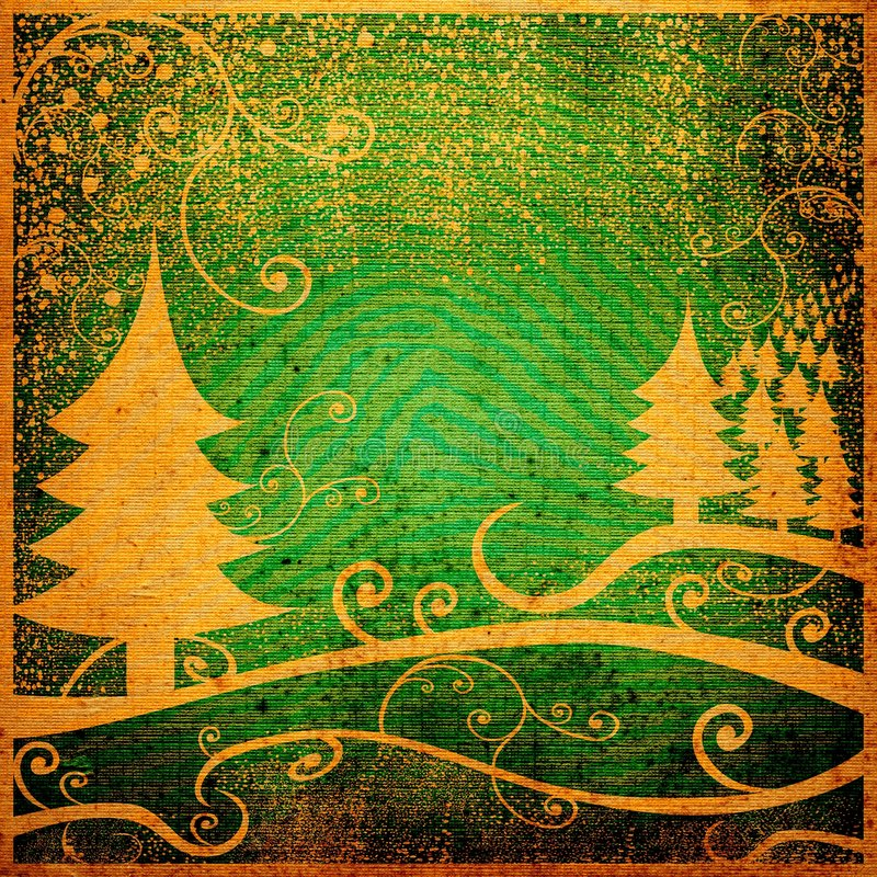 Paisaje del invierno de Grunge stock de ilustración