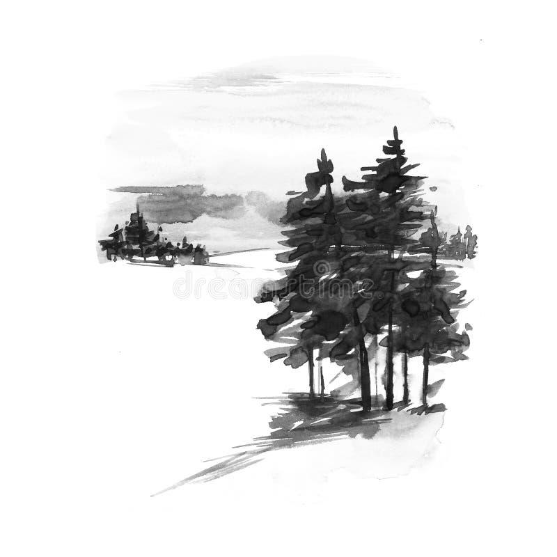 Paisaje del invierno de la acuarela Tarjeta de felicitación de la acuarela de la Navidad del vintage con paisaje acogedor del inv ilustración del vector