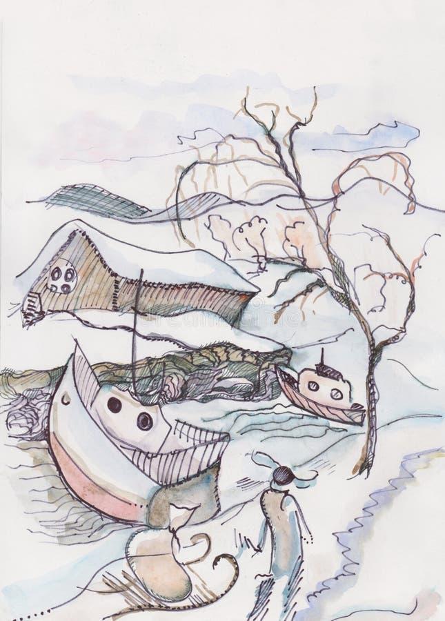 Paisaje del invierno de la fantasía con el lago congelado ilustración del vector