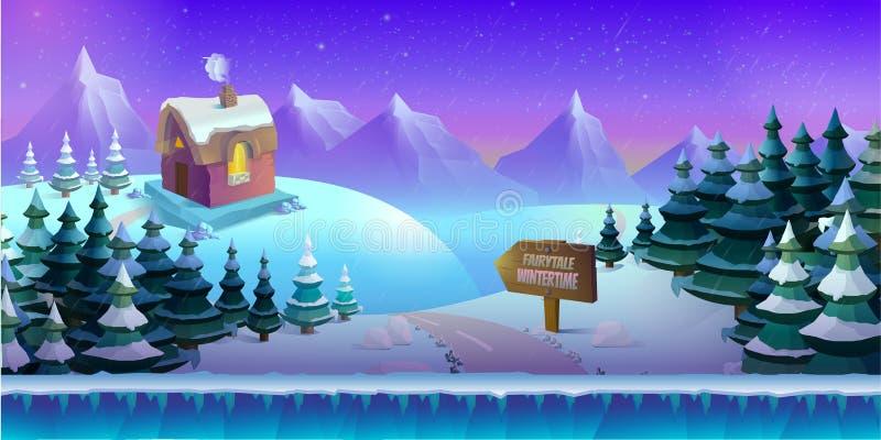 Paisaje del invierno de la historieta con hielo, nieve y el cielo nublado fondo de la naturaleza del vector para los juegos libre illustration