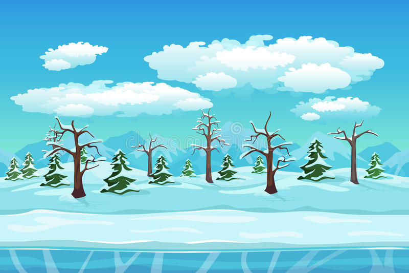 Paisaje del invierno de la historieta con hielo, nieve y nublado stock de ilustración