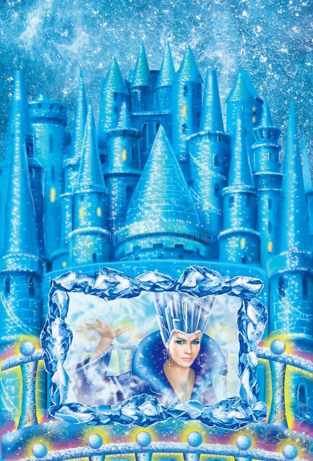 Paisaje del invierno de la historieta la casa para la reina de la nieve del cuento de hadas escrita por Hans Christian Andersen I stock de ilustración