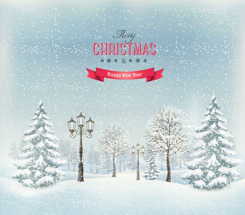 Paisaje del invierno de la Navidad con los faroles ilustración del vector