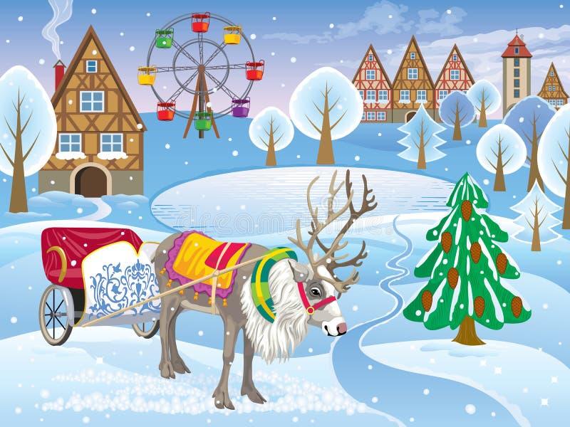 Paisaje del invierno de la nieve con los ciervos con el carro y la noria stock de ilustración