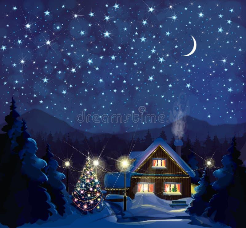 Paisaje del invierno de la noche del vector ilustración del vector