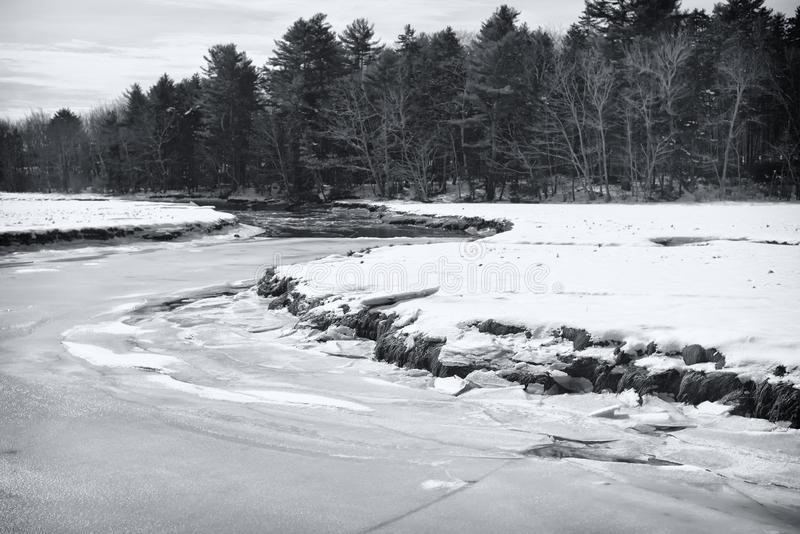 Paisaje del invierno de la reserva de Rachel Carson National fotos de archivo