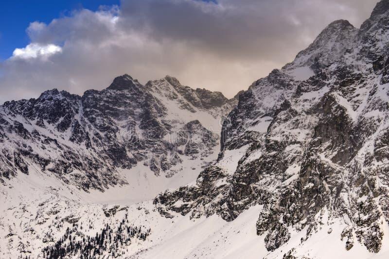 Paisaje del invierno de las montañas Montañas de Tatra en tonos retros del vintage de Polonia foto de archivo