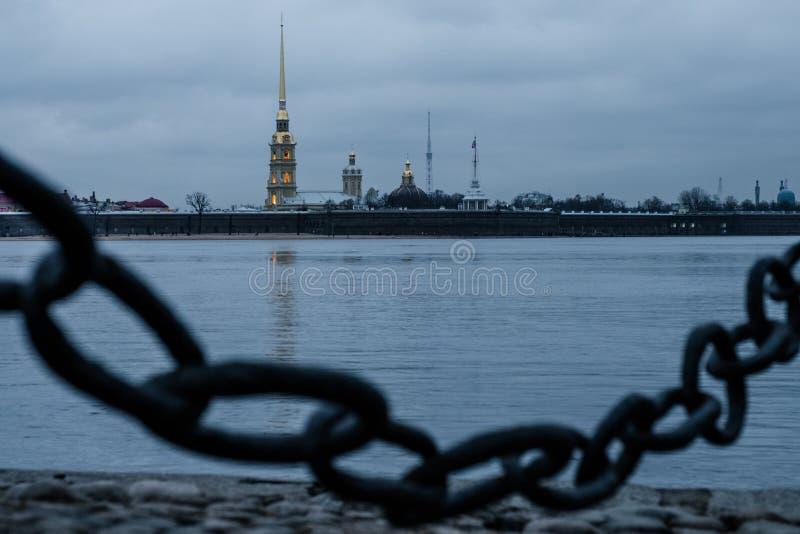 Paisaje del invierno de Sankt-Peterburg imagenes de archivo