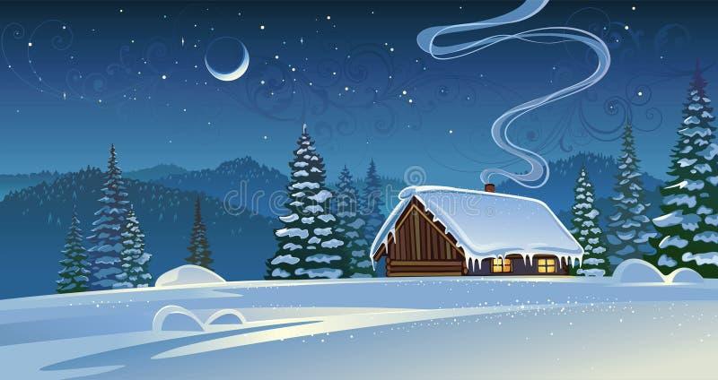 Paisaje del invierno del bosque con una choza stock de ilustración