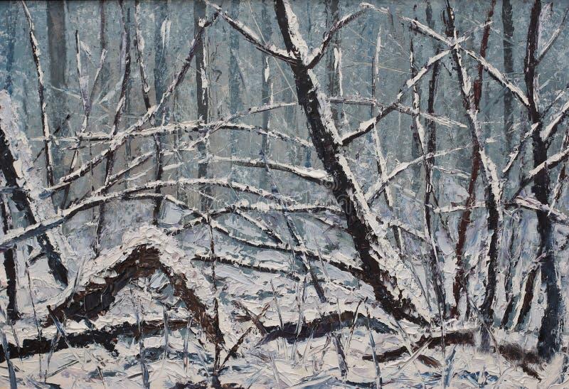 Paisaje Del Invierno Del Bosque, Pintura Al óleo Foto de archivo - Imagen  de pintura, fondo: 62974514