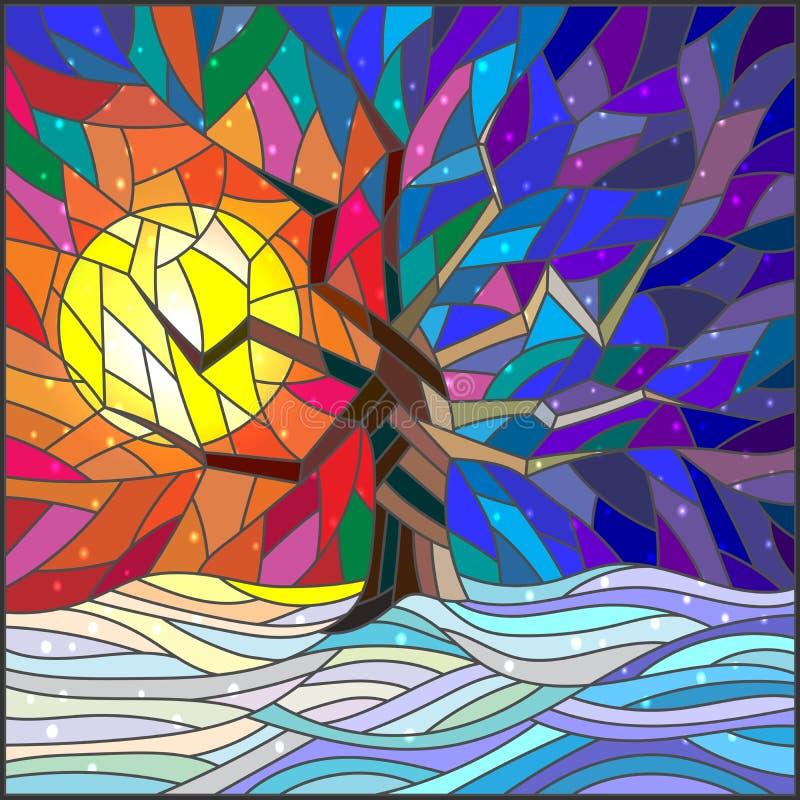 Paisaje del invierno del ejemplo del vitral, un árbol solitario contra el sol brillante y nieve stock de ilustración
