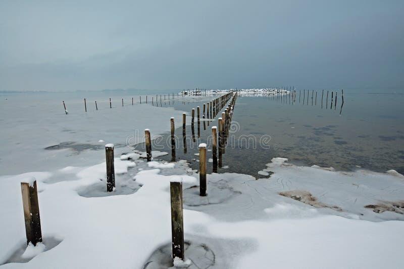 Paisaje del invierno en Dinamarca, Sjoelund cerca de Kolding foto de archivo