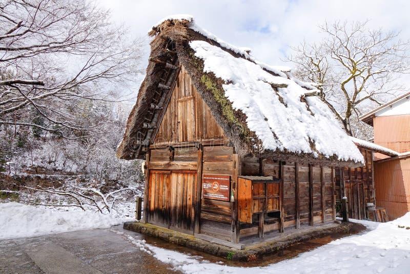 Paisaje del invierno en el pueblo de Shirakawago, Japón fotos de archivo