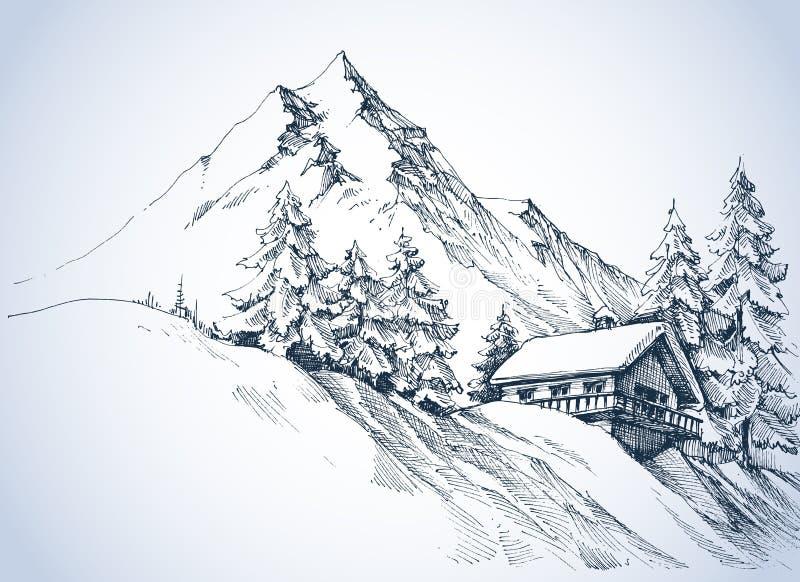 Paisaje del invierno en las montañas ilustración del vector