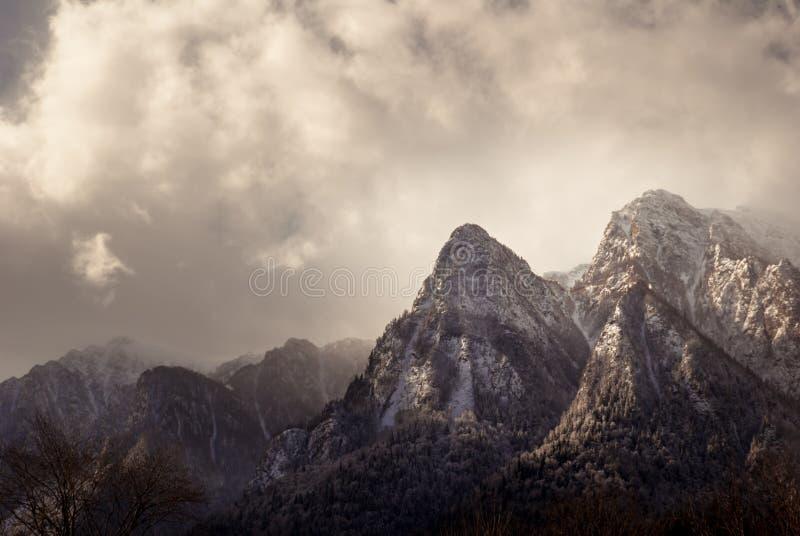 Paisaje del invierno en las montañas de Cárpatos Transilvania, Rumania imagenes de archivo