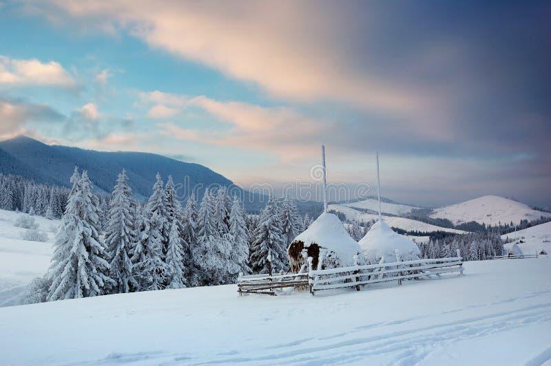 Paisaje del invierno en montañas imagenes de archivo