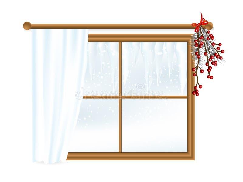 Paisaje del invierno en ventana libre illustration