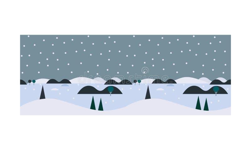 Paisaje del invierno, nevadas y árboles de pino hermosos, ejemplo nevoso del vector del fondo de la naturaleza libre illustration