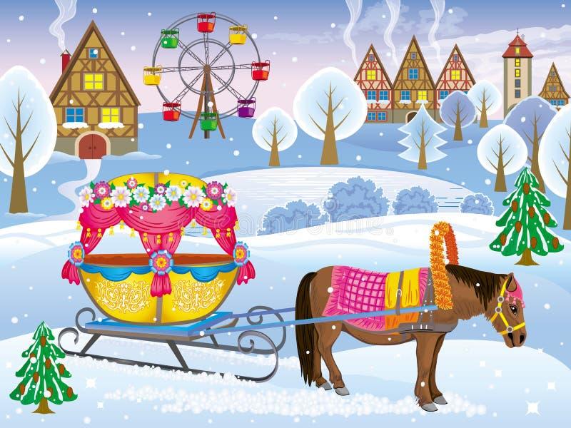 Paisaje del invierno del parque con el potro aprovechado al diciembre stock de ilustración
