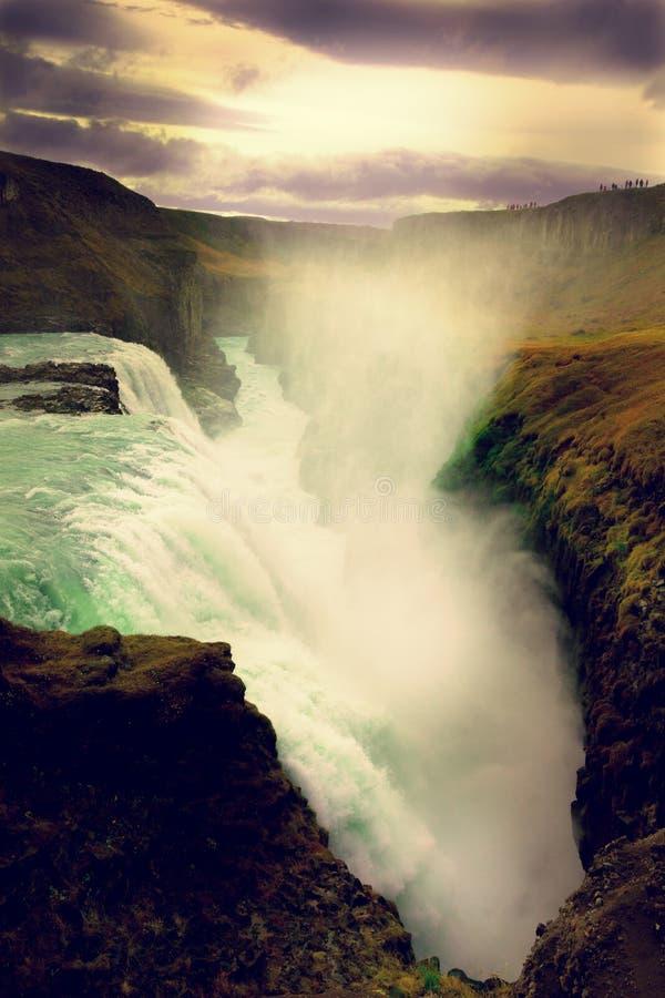Paisaje del islandés de Gullfoss Waterfal imagenes de archivo