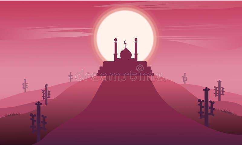Paisaje del kareem del Ramadán con la silueta de la mezquita islámica ejemplo del diseño del vector en fondo rosado oscuro libre illustration