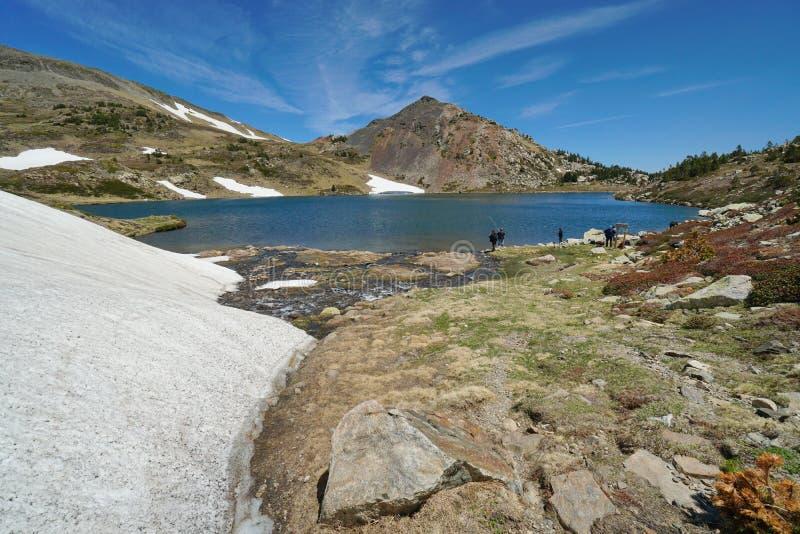Paisaje del lago Casteilla de la montaña de Francia los Pirineos fotos de archivo libres de regalías