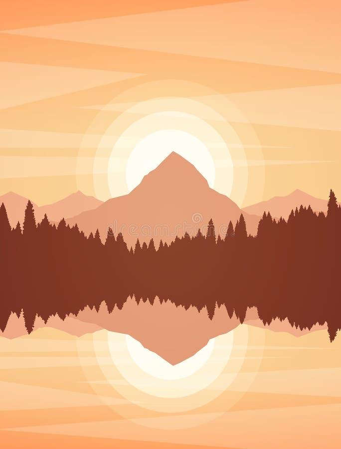 Paisaje del lago de la puesta del sol o mountain de la salida del sol con el bosque y la reflexión del pino stock de ilustración