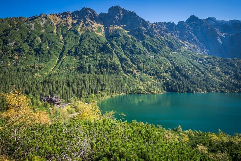 Paisaje del lago Morskie Oko de la montaña cerca de Zakopane, Tatra Moun fotografía de archivo libre de regalías
