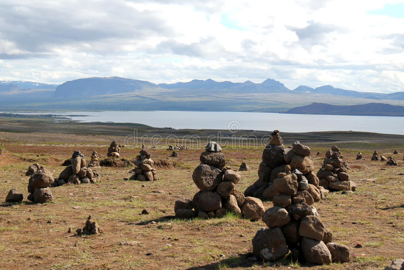 Paisaje del lago Myvatn, Islandia. imagenes de archivo